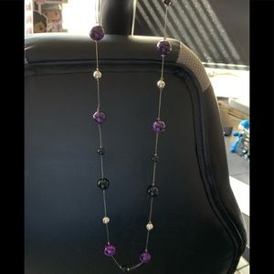 Extra long purple and black necklace
